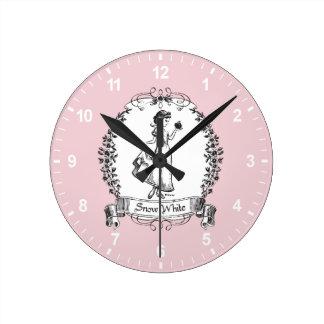 Horloge Ronde Blanc   Apple se tenant - croquis élégant de neige