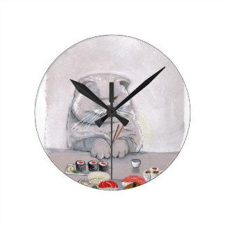 Horloge Ronde Bougons de chat de sushi