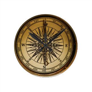 Horloge Ronde Boussole en laiton nostalgique de Steampunk