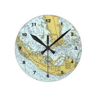 Horloge Ronde Carte de cru d'île de Sanibel