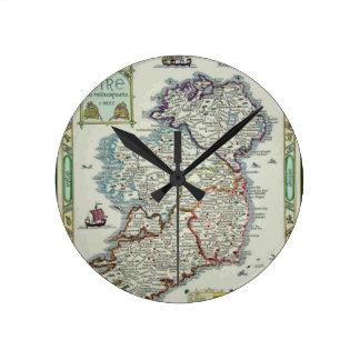 Horloge Ronde Carte de l'Irlande - carte historique d'Eire Erin