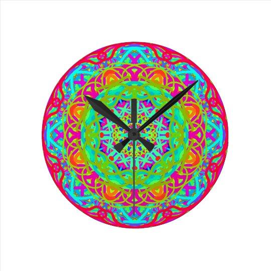 Horloge Ronde Célébrons le mandala coloré