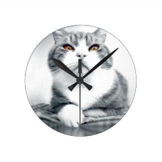 Horloge Ronde Chat avec les yeux oranges de puissance