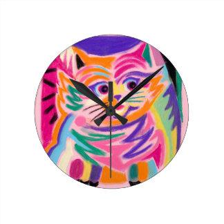 Horloge Ronde Chat curieux 80s de Cheshire rétro