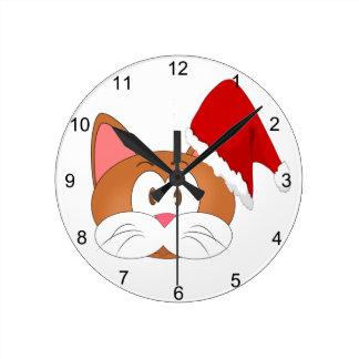 Horloge Ronde Chat de Père Noël