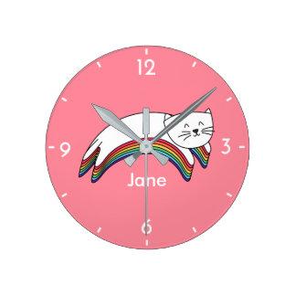 Horloge Ronde Chat mignon de bande dessinée de Kitty Kawaii