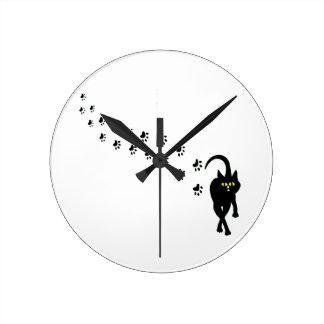 Horloge Ronde Chat noir et Pawprints