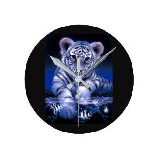 Horloge Ronde Chaton de tigre