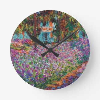 Horloge Ronde Claude Monet - iris en beaux-arts du jardin de