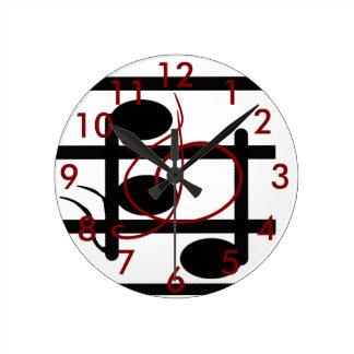 Horloge Ronde Clef triple de notes musicales de musiciens de