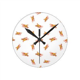 Horloge Ronde Conception de motif de collage de photo de crabes