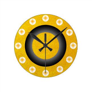 Horloge Ronde Contemporain d'or jaune scintillant scintillant