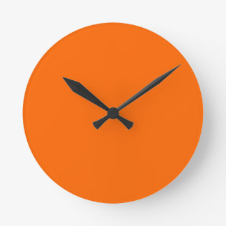 Horloge Ronde couleur solide orange au néon
