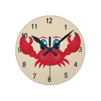 Horloge Ronde Crabe heureux mignon de l'horloge de l'enfant