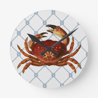 Horloge Ronde Crabe nautique