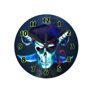 Horloge Ronde Crâne et os croisés