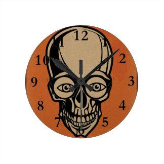 Horloge Ronde Crâne orange