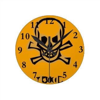 Horloge Ronde Crâne stylisé