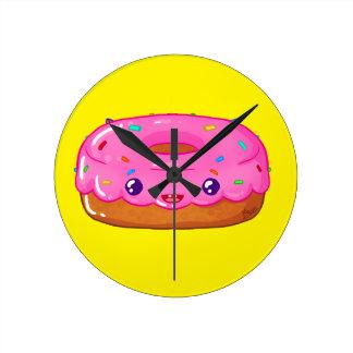Horloge Ronde cute donut kawaii