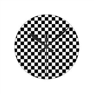 Horloge Ronde Damier noir et blanc