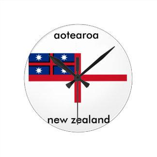 Horloge Ronde drapeau de la Nouvelle Zélande d'aotearoa