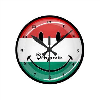 Horloge Ronde Drapeau hongrois de sourire