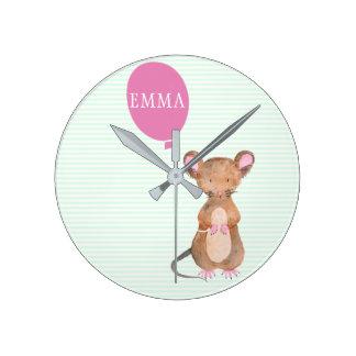 Horloge Ronde Enfants mignons de souris de région boisée/horloge