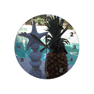 Horloge Ronde Étoiles de mer d'ananas