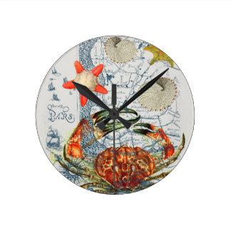 Horloge Ronde étoiles de mer désagréables de carte