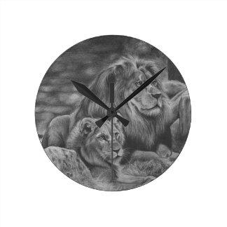 Horloge Ronde Famille de lion