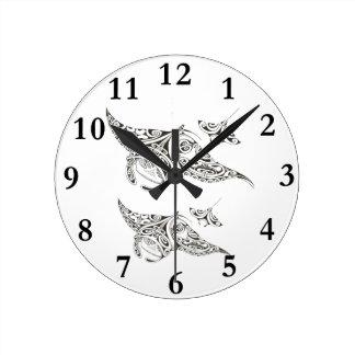 Horloge Ronde famille des manta-rayons