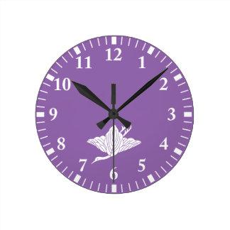 Horloge Ronde feuille Grue-formé de chêne