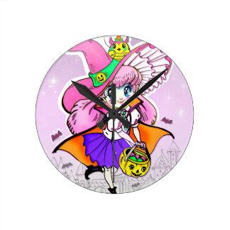 Horloge Ronde Fille de Shoujo de vampire de sorcière de Kawaii