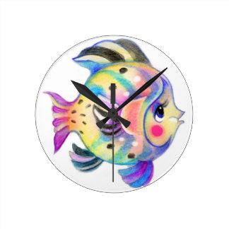 Horloge Ronde Fishie tropical mignon Kawaii