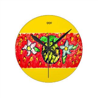 Horloge Ronde fleurs d'ananas