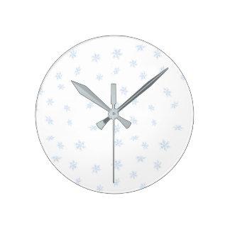 Horloge Ronde Flocons de neige