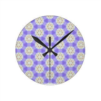 Horloge Ronde Flocons de neige floraux 1
