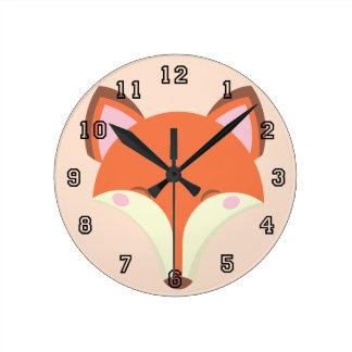 Horloge Ronde Fox de Kawaii