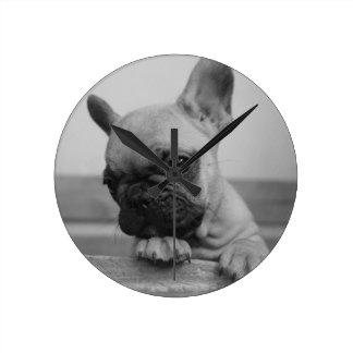 Horloge Ronde Frenchie puppy