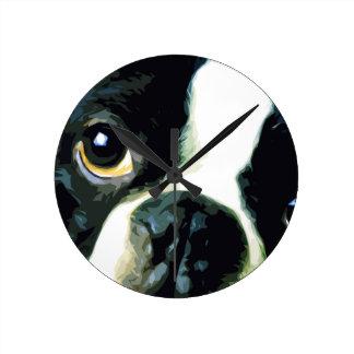 Horloge Ronde grand Boston moderne Terrier