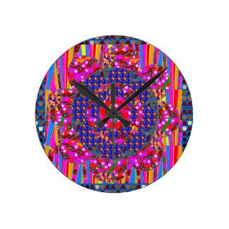 Horloge Ronde Graphiques colorés de style de guirlande de Noël
