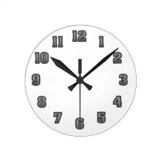 Horloge Ronde Gris dans le modèle noir d'horloge