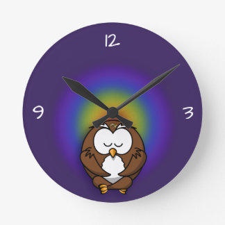 Horloge Ronde hibou de yoga
