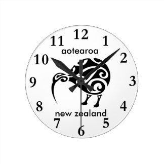 Horloge Ronde kiwi de la Nouvelle Zélande d'aotearoa