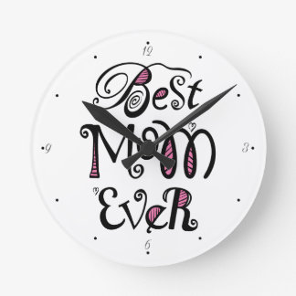 Horloge Ronde La meilleure typographie de maman jamais