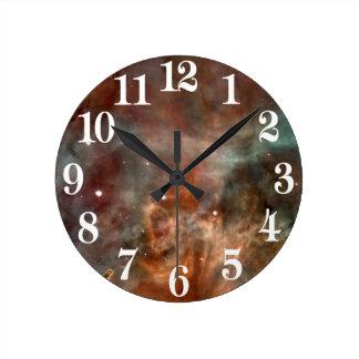 Horloge Ronde La NASA de regard de marbre de nébuleuse de Carina