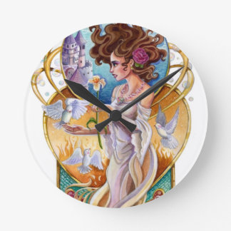 Horloge Ronde Labyrinthe passionné de rêveur de Nouveau d'art