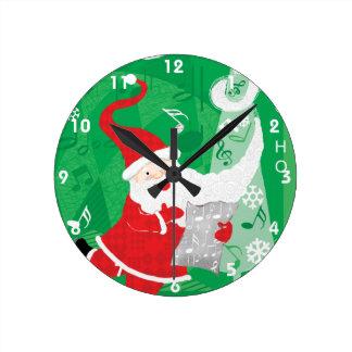 Horloge Ronde Le père noël de Noël, de chant et de danse mignon