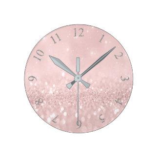 Horloge Ronde Le rose minimal de rose de parties scintillantes