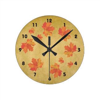 Horloge Ronde L'érable laisse l'horloge murale
